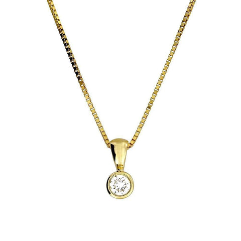Gold and Diamond Solitaire Pendant