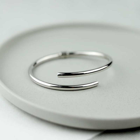 Slim Silver Hinged Bangle