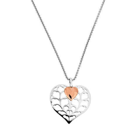 Silver & Rose Vermeil Double Heart Pendant