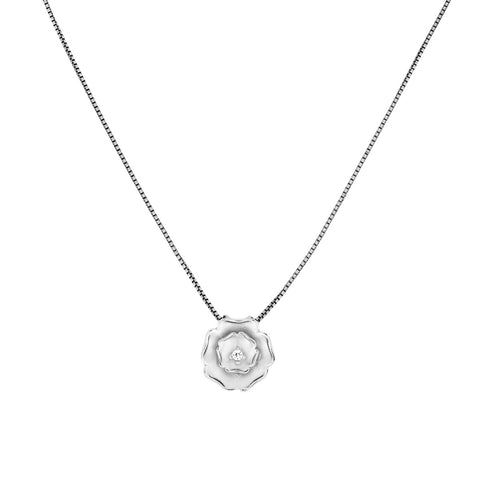Frosted Silver Rose Pendant