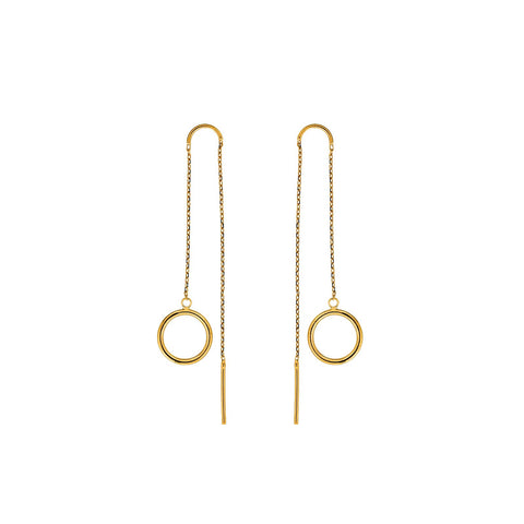 Gold Circles Drop Earrings