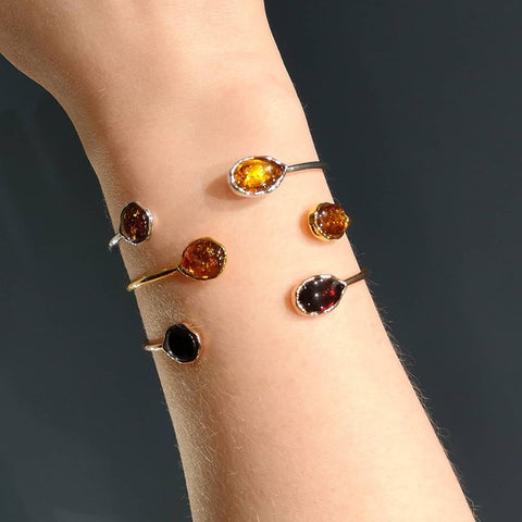 Silver and Amber Cuff Bangles