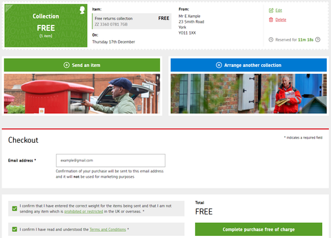 Parcel Collect confirmation page