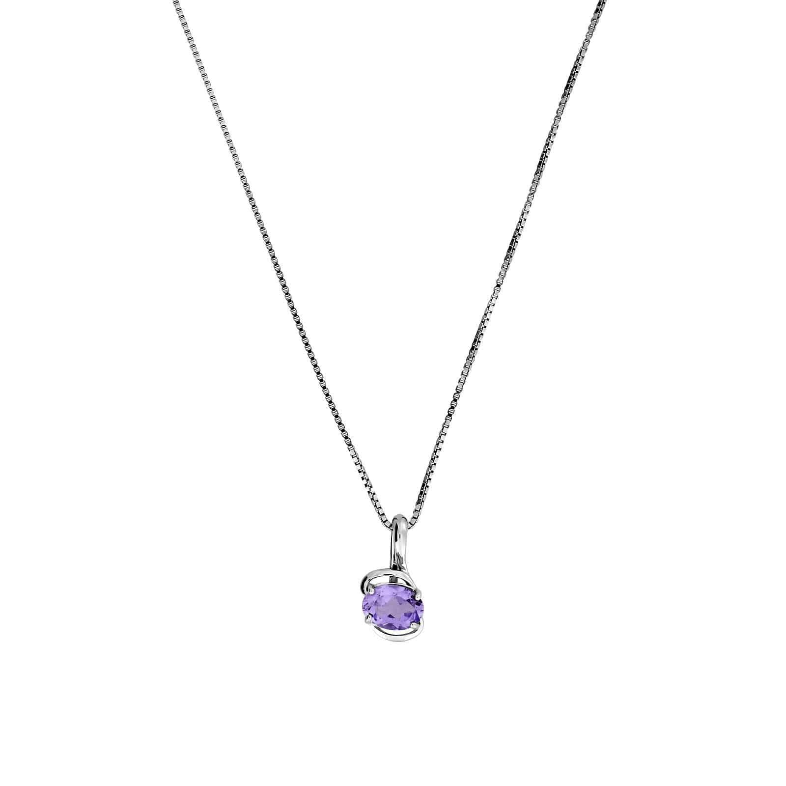 "16-18"" Amethyst Pendant with Silver Loops"