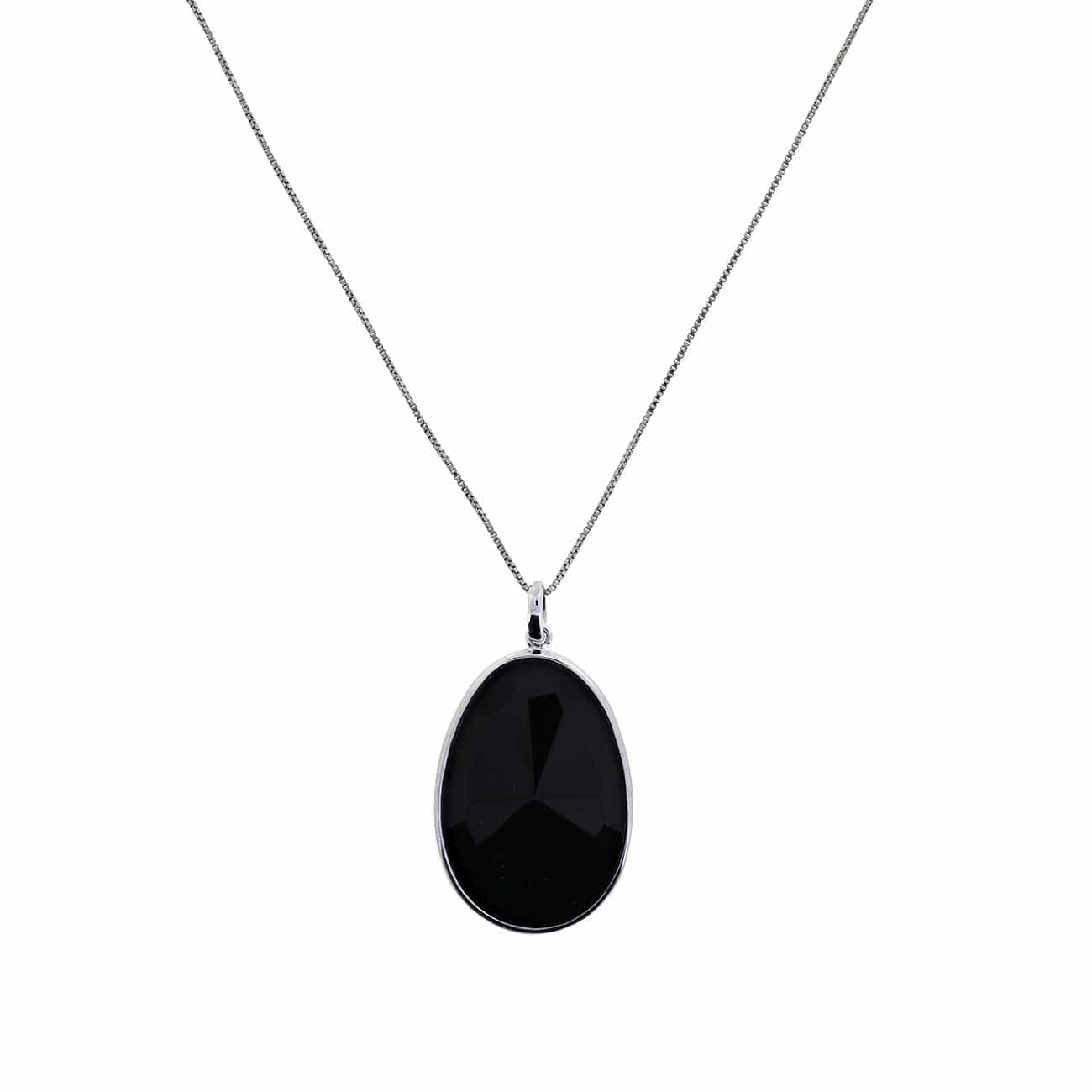 "16-18"" Box Chain Black Agate & Silver Pendant"