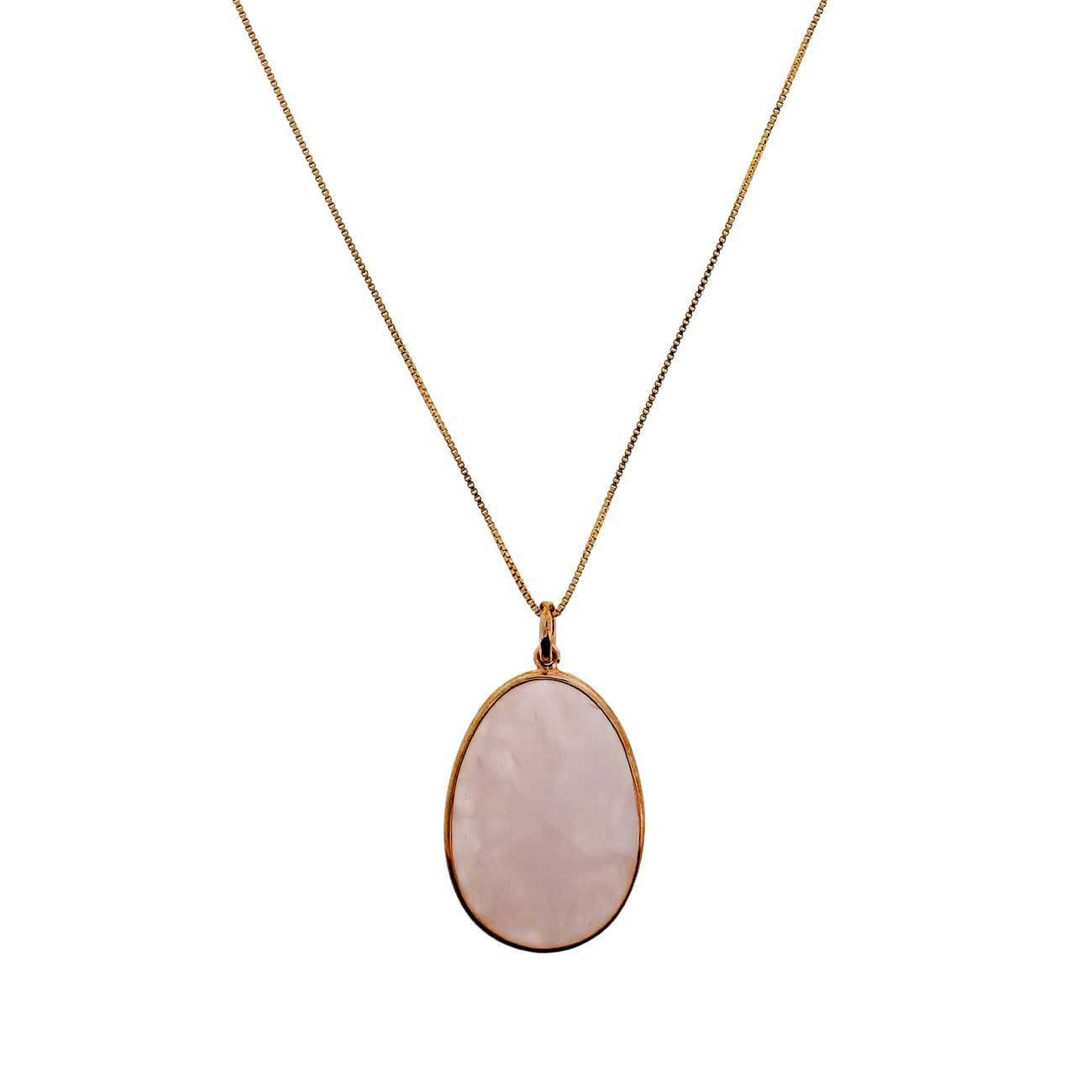 "16-18"" Box Chain Rose Quartz & Rose Vermeil Pendant"