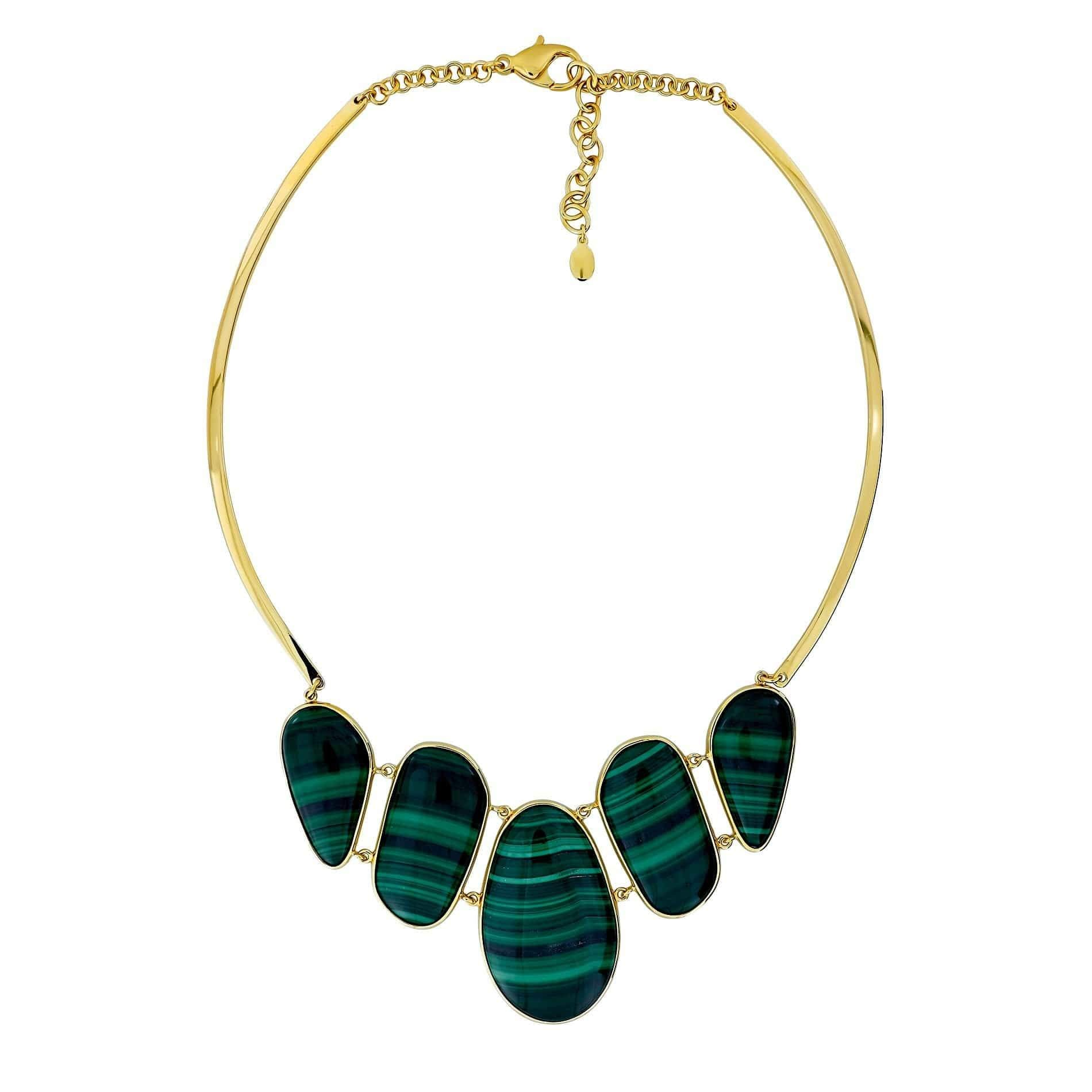 18CT Gold Vermeil Malachite Avalon Statement Necklace