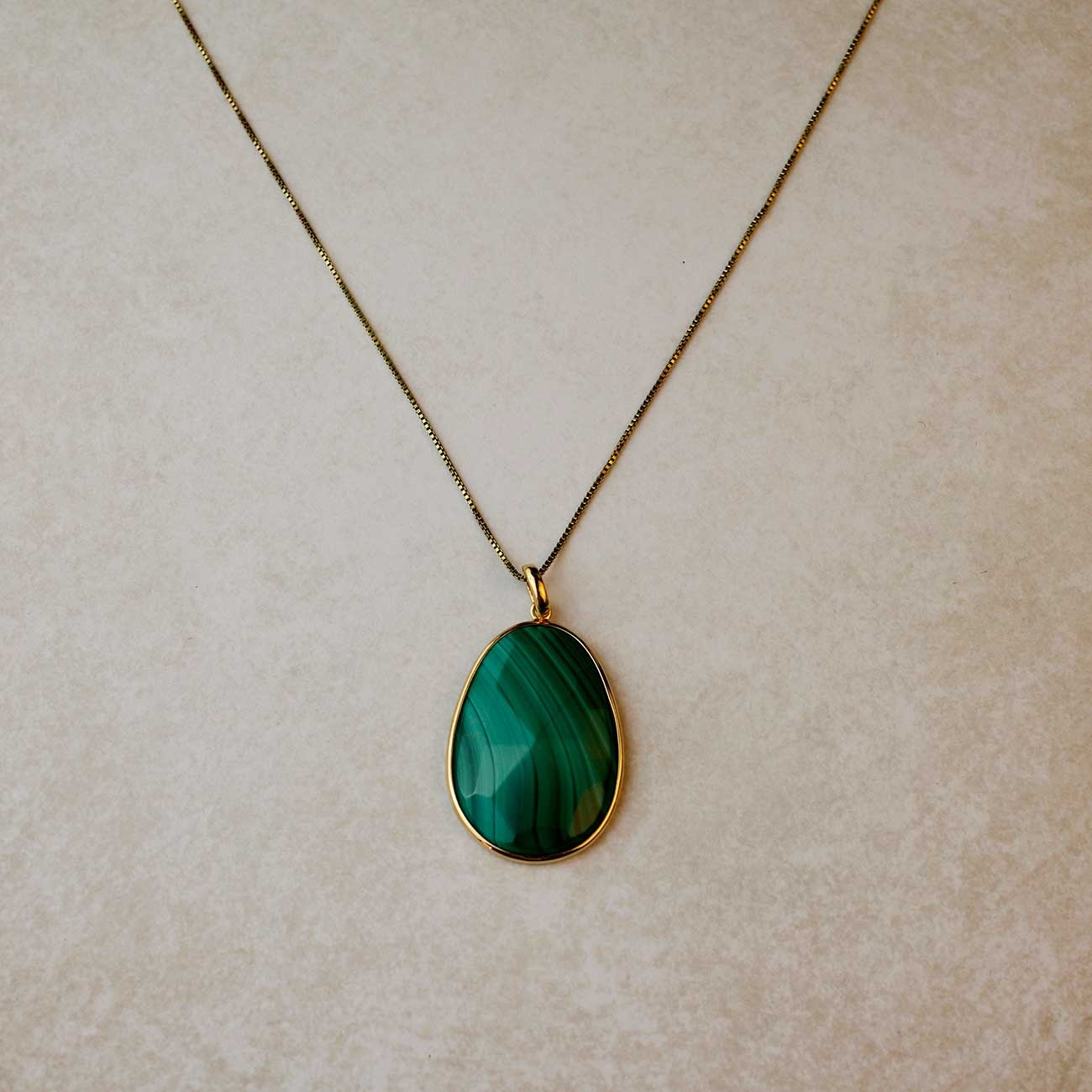 "16-18"" Box Chain 18ct Gold Vermeil Malachite Pendant"
