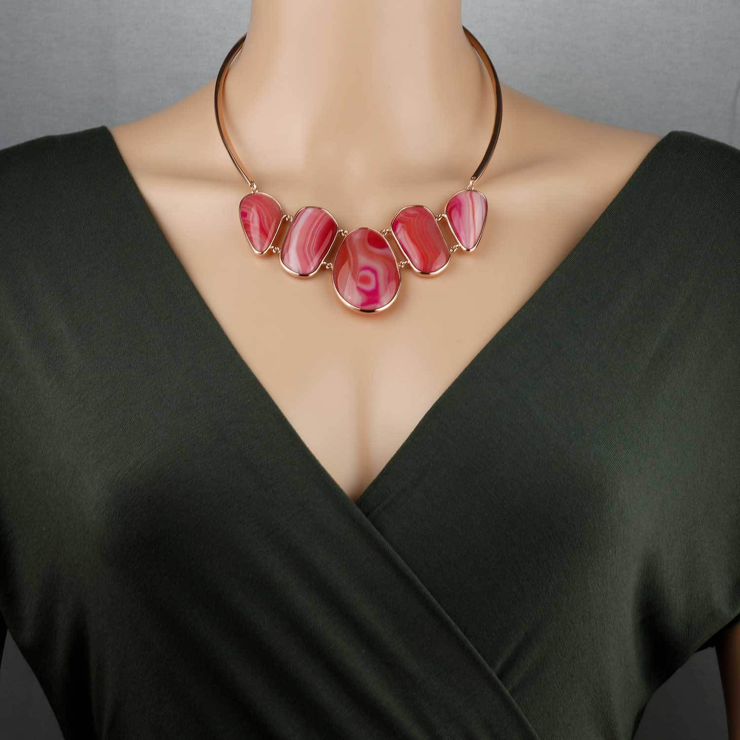 18ct Rose Gold Vermeil Persian Agate Avalon Statement Necklace