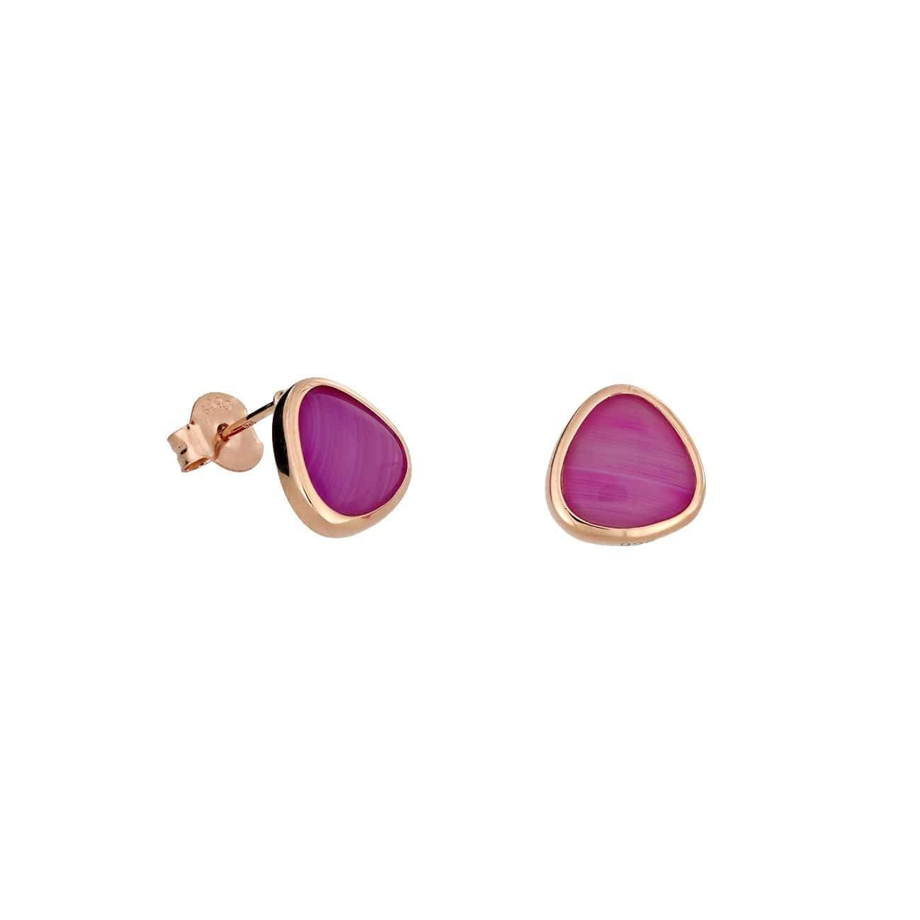 18ct Rose Gold Vermeil Persian Agate Avalon Stud Earrings