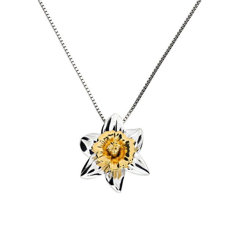 Daffodil March Birthday Flower Pendant
