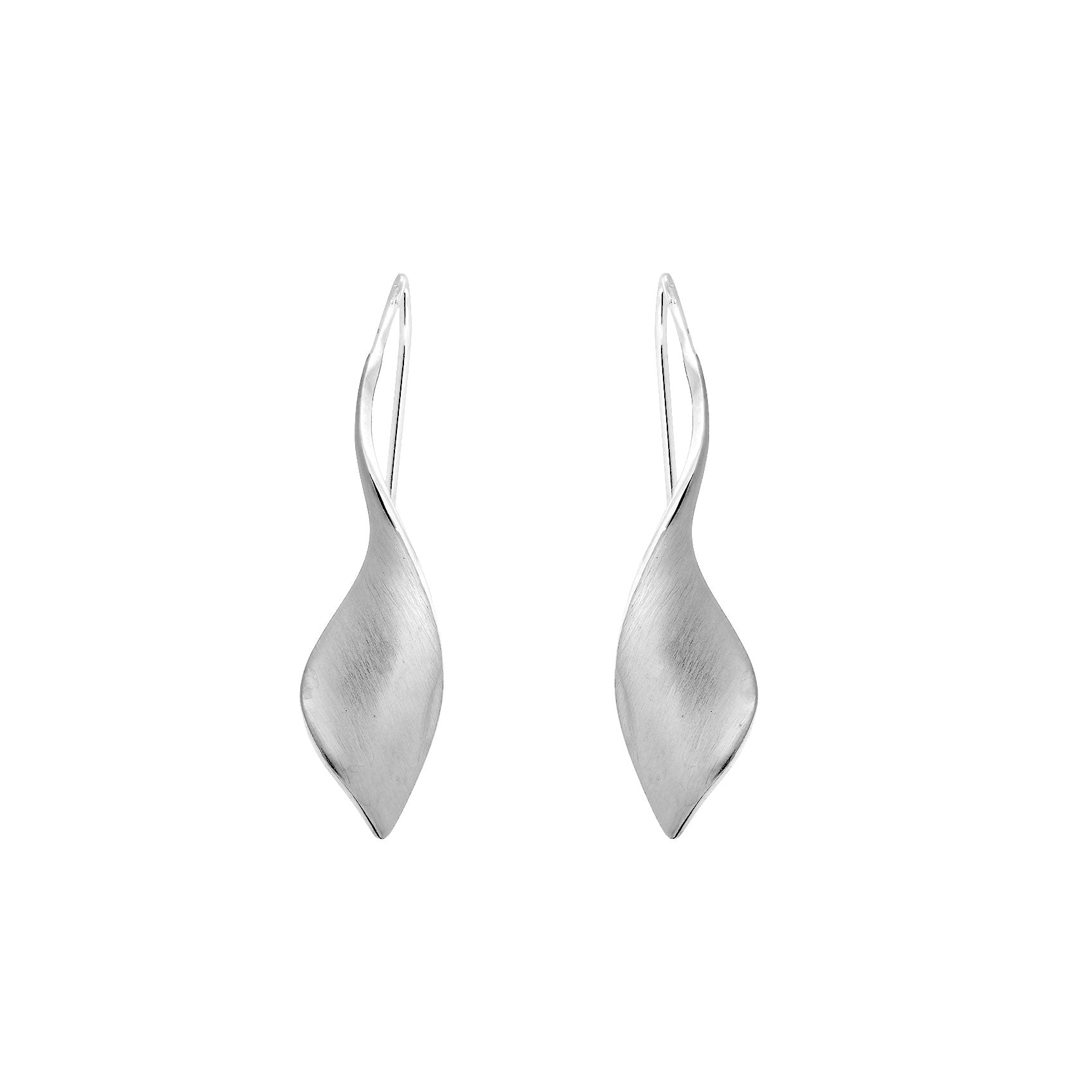 Silver Twist Drop Earrings