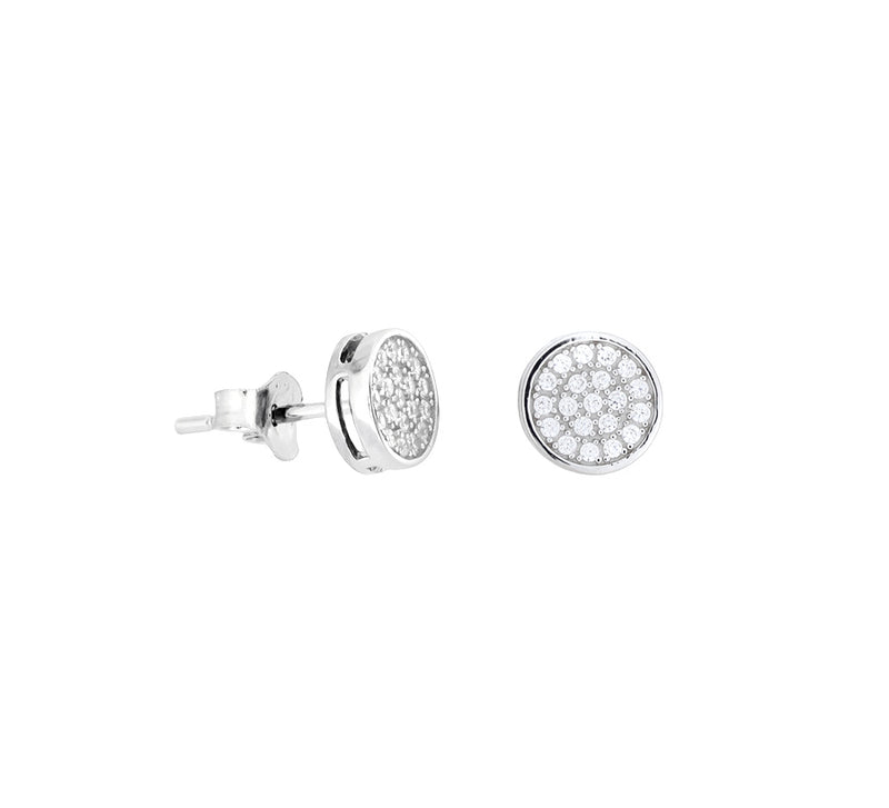Pavé Disc Stud Earrings