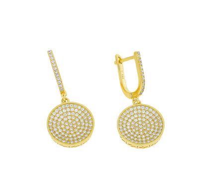 Domed Pavé Earring with Hinged Drop
