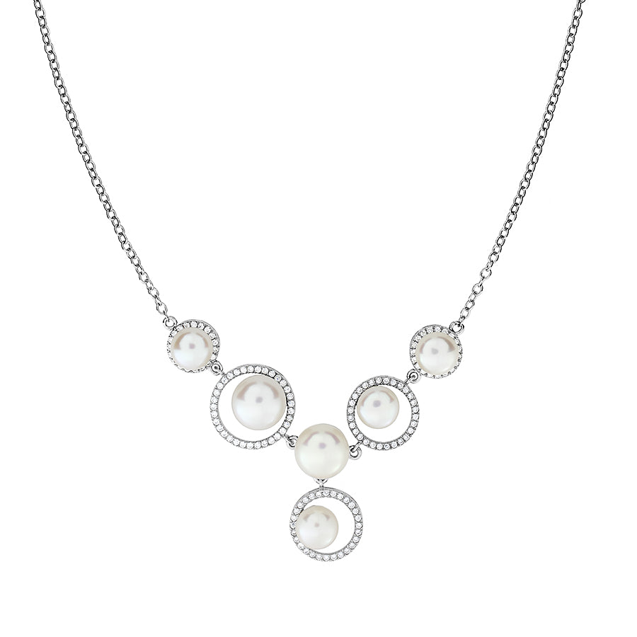 Silver Circles Pavé Necklace