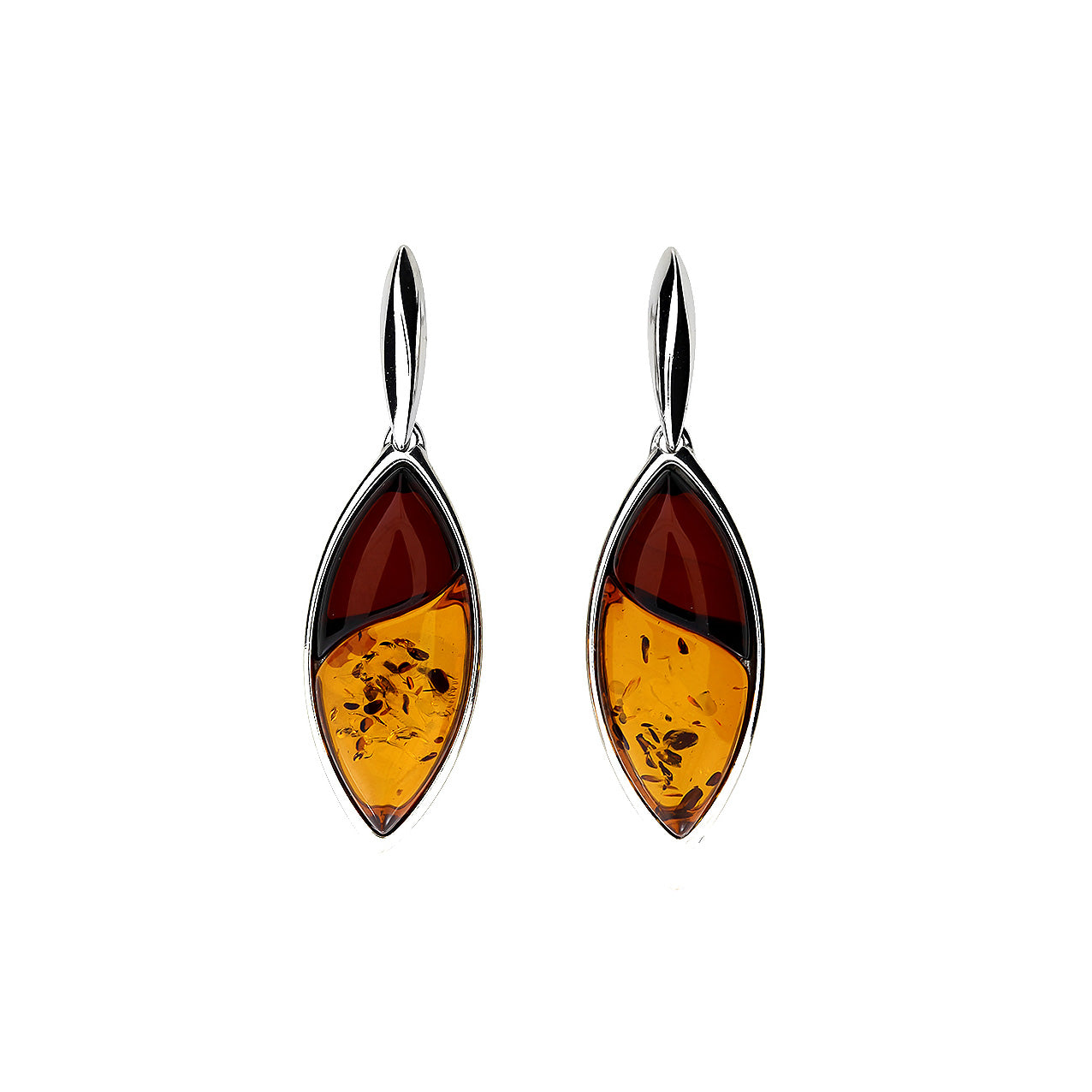 Silver Two Colour Amber Leaf Earrings