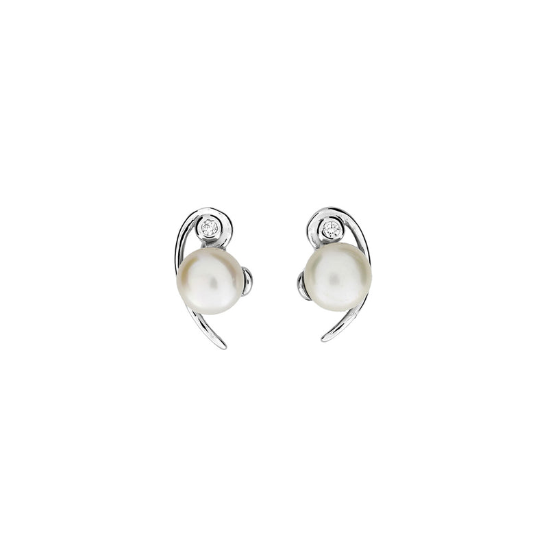 Silver & Pearl Curve Studs