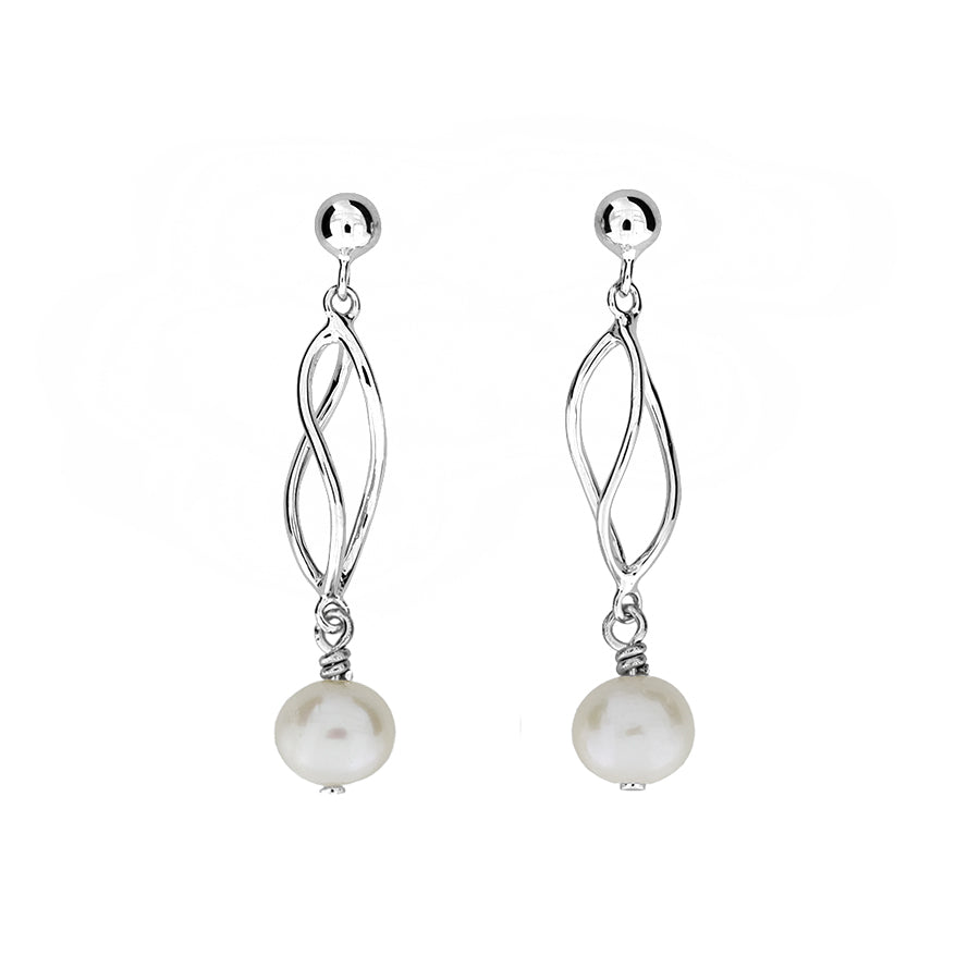 Silver & Freshwater Pearl Spiral Earrings