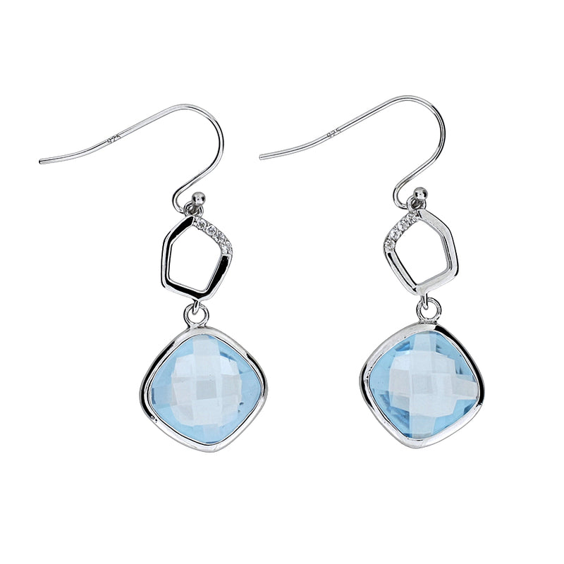 Blue Topaz & White Topaz Drop Earrings