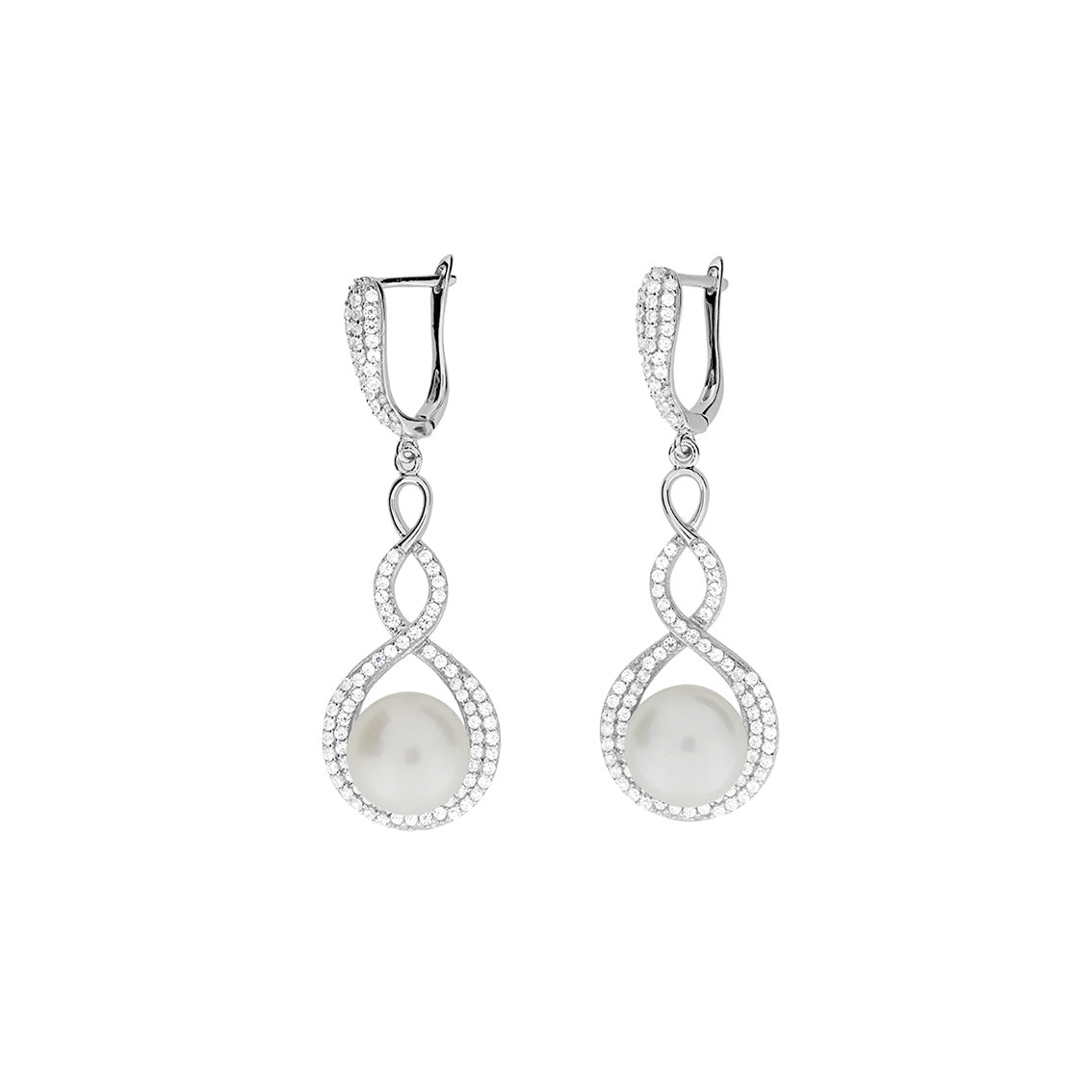 Silver & Pavé Twisting Pearl Earrings