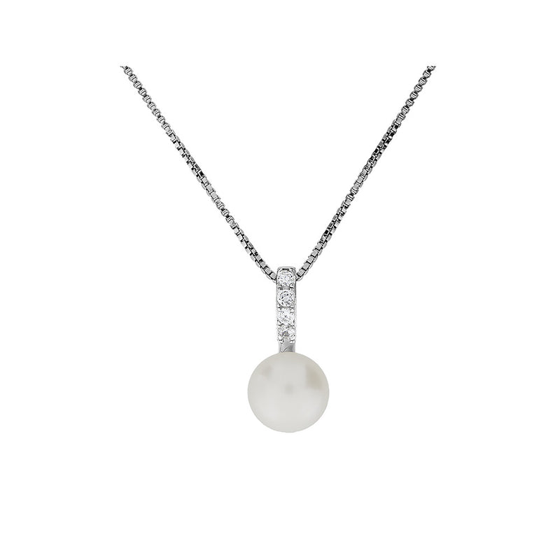 Silver & Pavé Simple Pearl Pendant