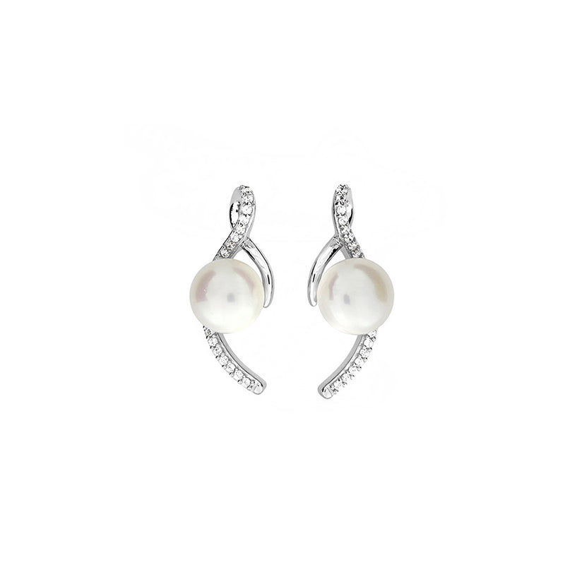 Silver & Pavé Ribbon Pearl Earrings