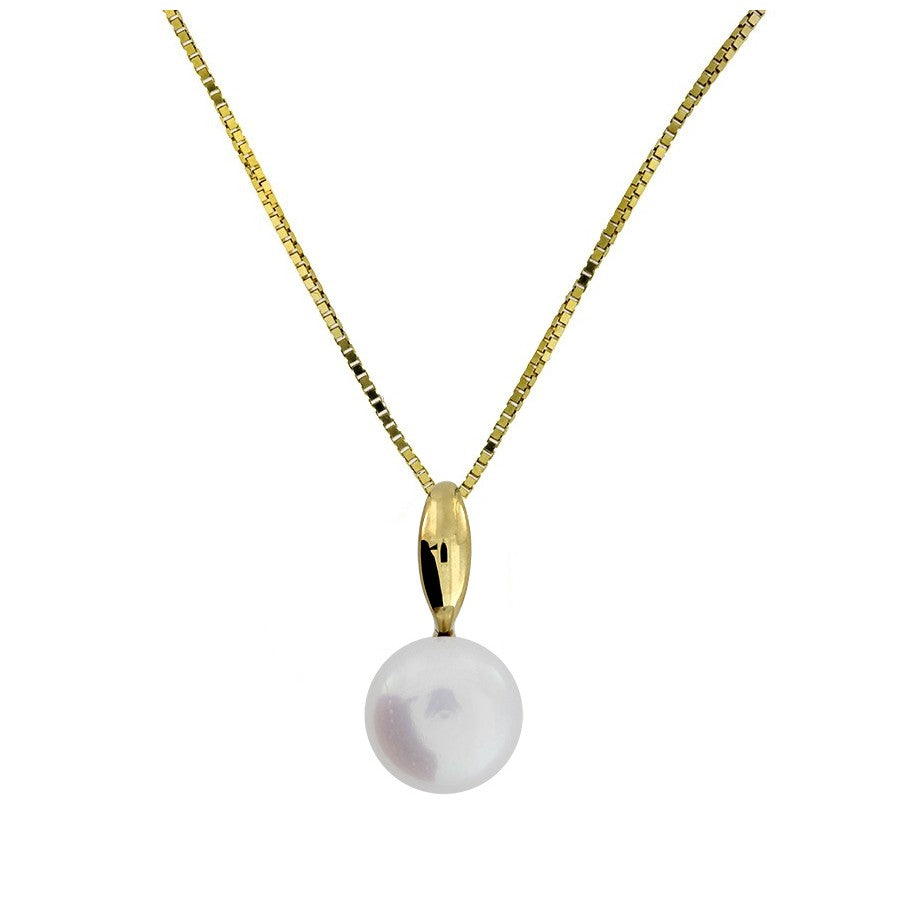 9ct Gold & Freshwater Pearl Drop Pendant