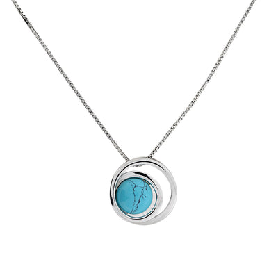 Silver & Turquoise Circles Pendant