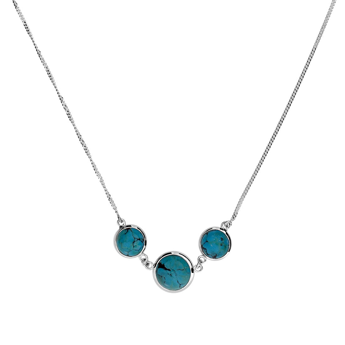 Silver & Turquoise 3 Stone Necklace