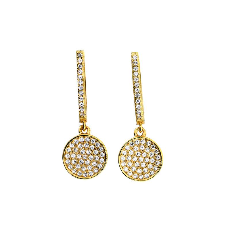 Domed Pavé Earring with Hinged Drop (Small)