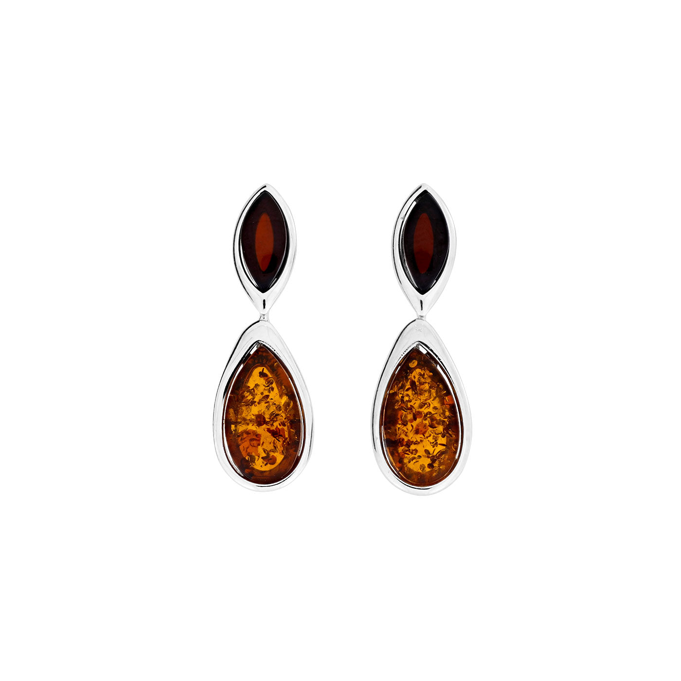 Two Colour Amber Drop Earrings