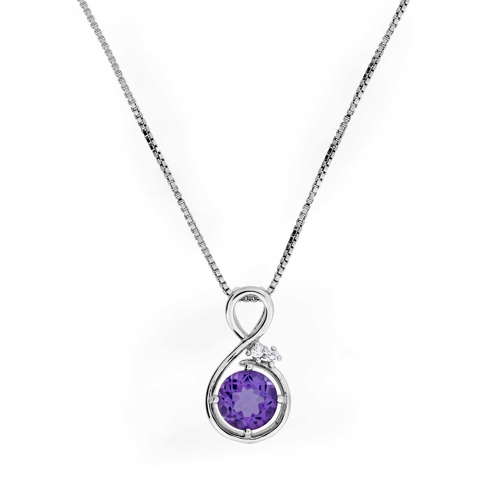 White Topaz & Amethyst Figure of Eight Design Silver Necklace