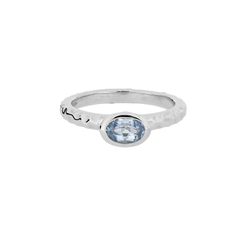 Oval Blue Topaz Textured Stacking Ring