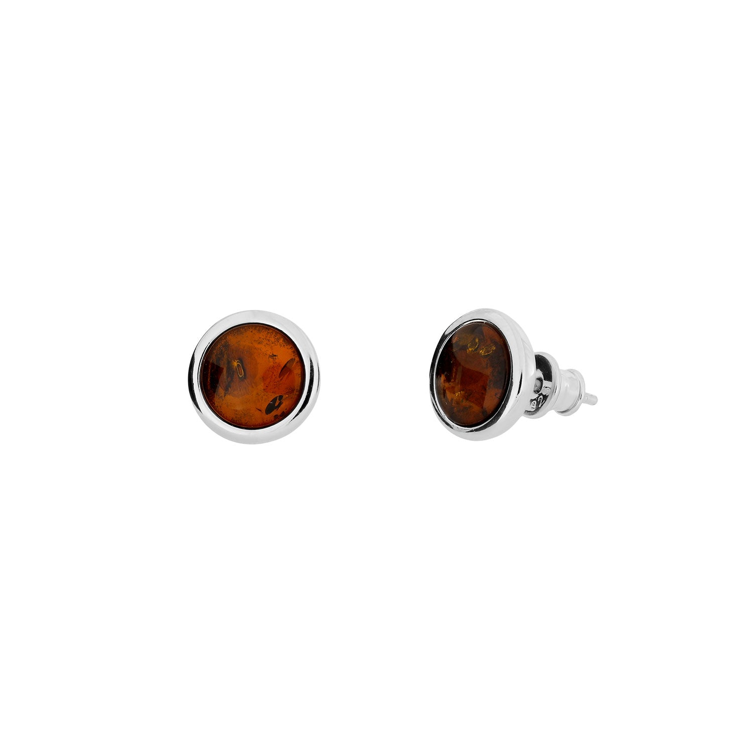 Silver & Amber Small Button Studs; 6mm