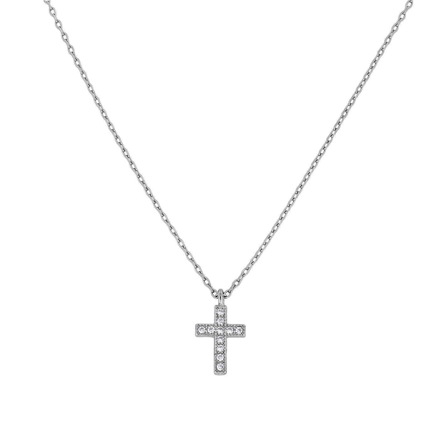 Silver Cross With Cubic Zirconia