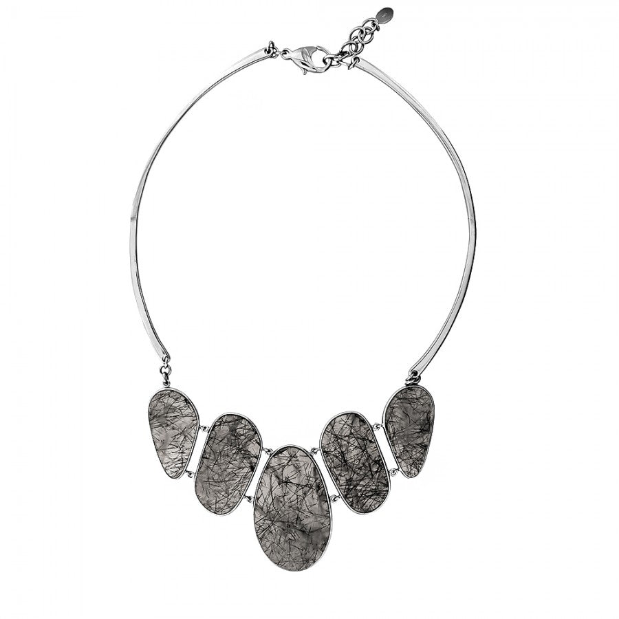 Silver & Rutile Quartz Statement Necklace