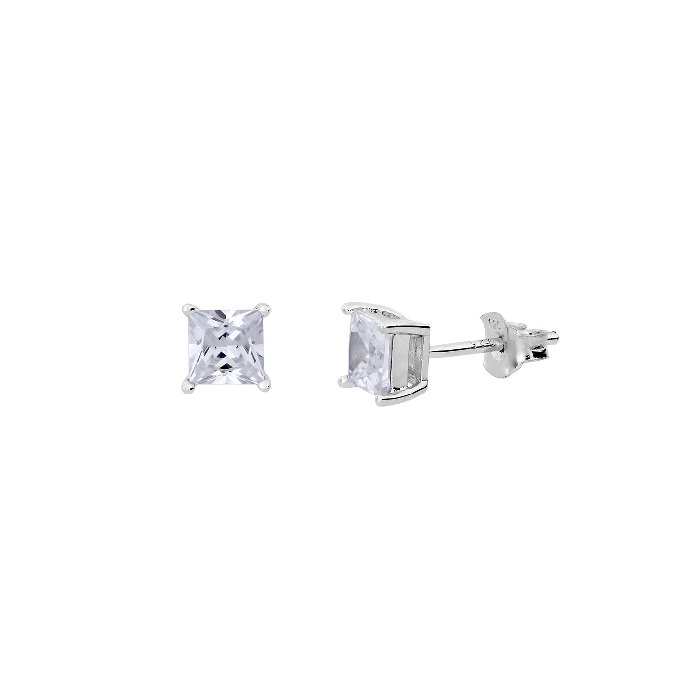 SQUARE PRINCESS CUT CZ CLAW STUD EARRINGS 5MM
