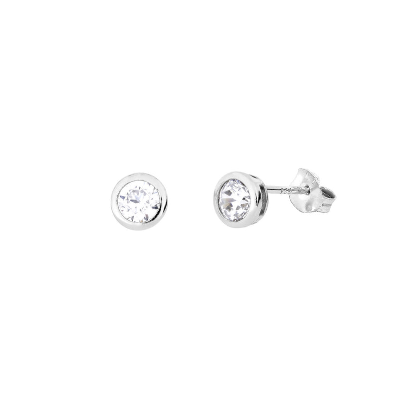 Round Brilliant Cut CZ STUD EARRINGS 6MM