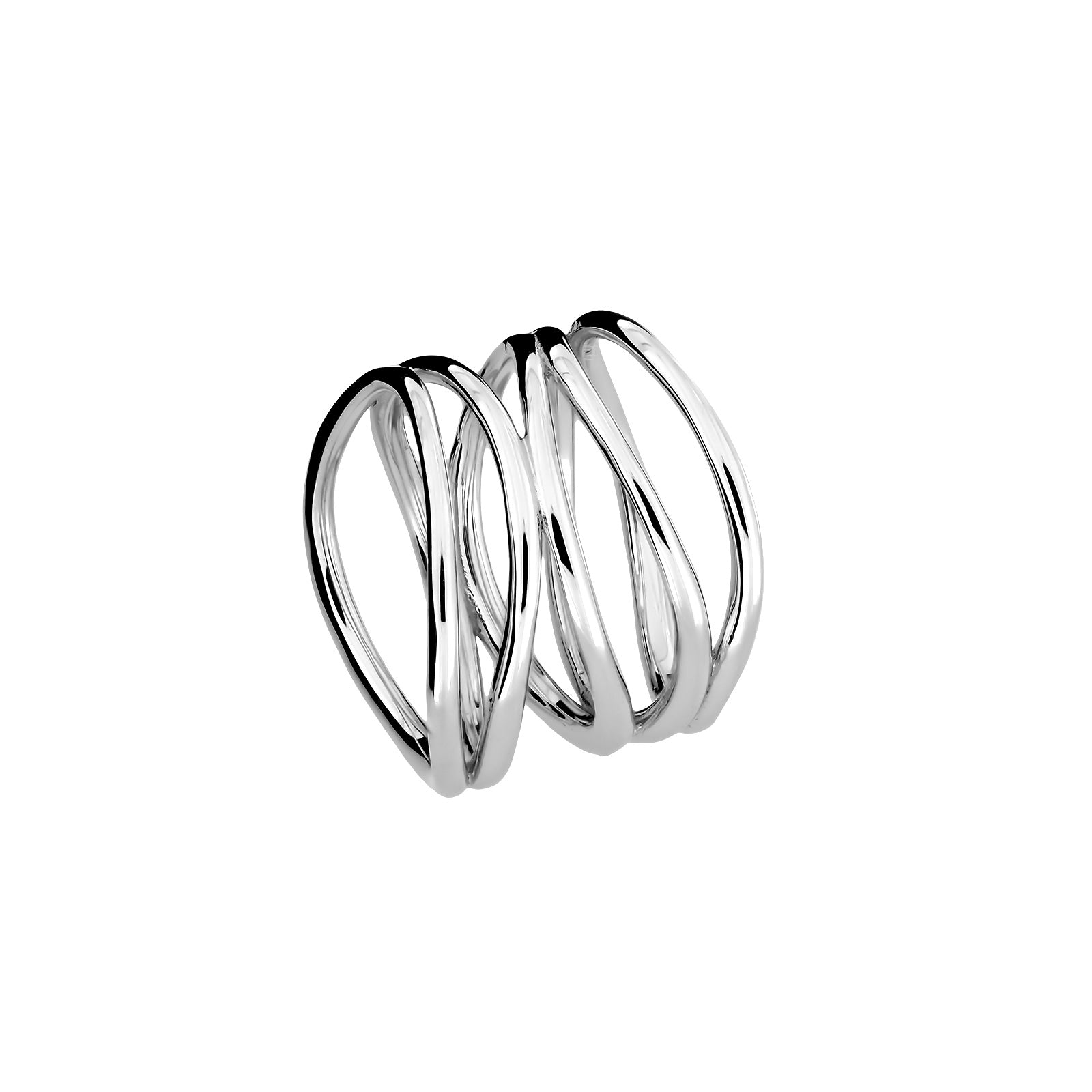 Overlapping Waves Silver Ring
