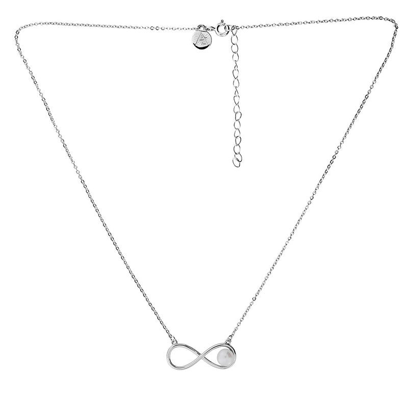 Silver & Pearl Infinity Necklace