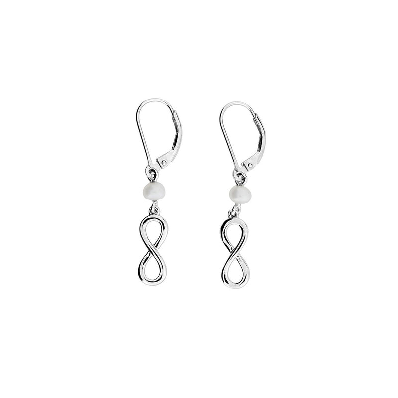 Silver & Pearl Infinity Drop Earrings