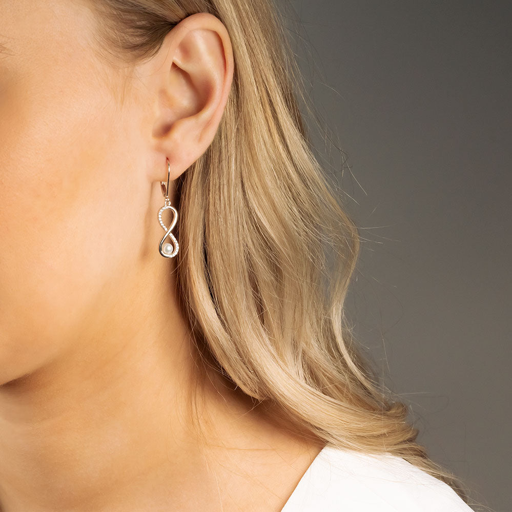 Silver Pearl & Pavé Infinity Earrings
