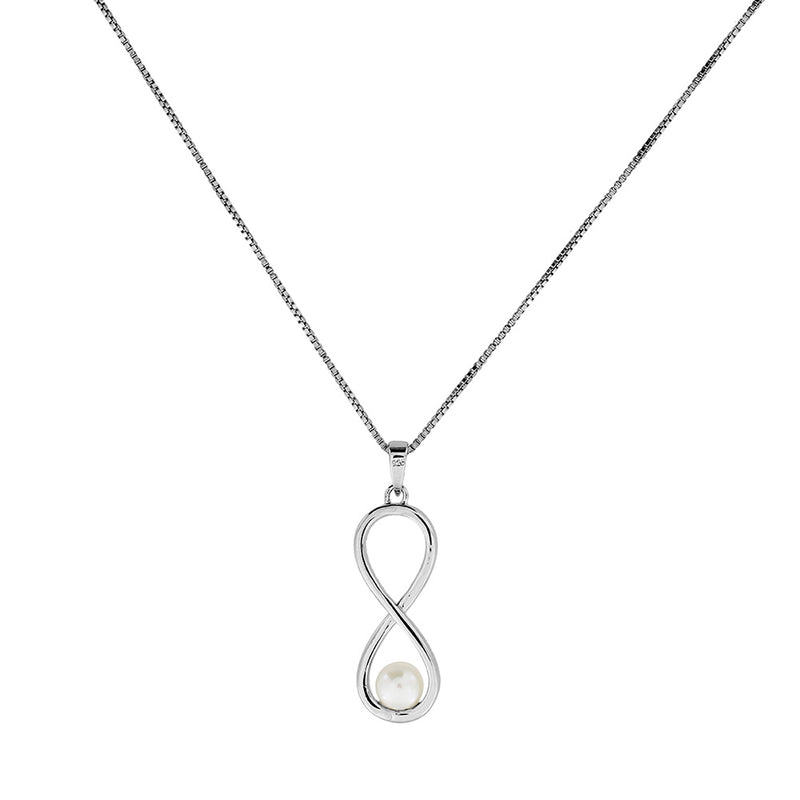Silver & Pearl Infinity Pendant