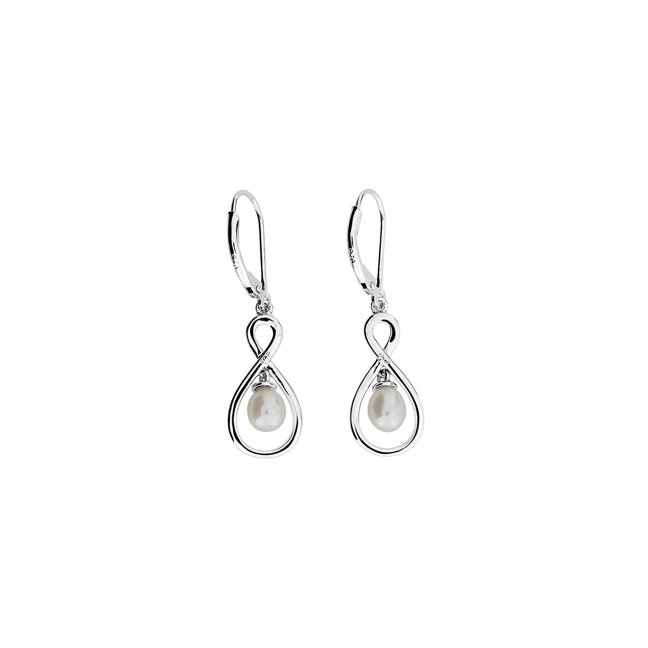 Silver & Dangling Pearl Infinity Earrings