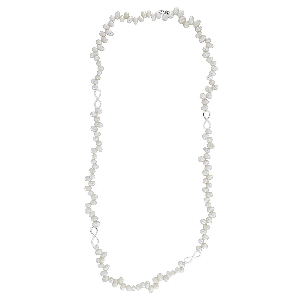 Freshwater Pearl & Infinity Long Necklace