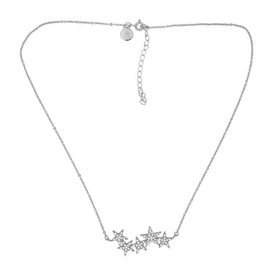 Silver & Pavé Star Cluster Necklace