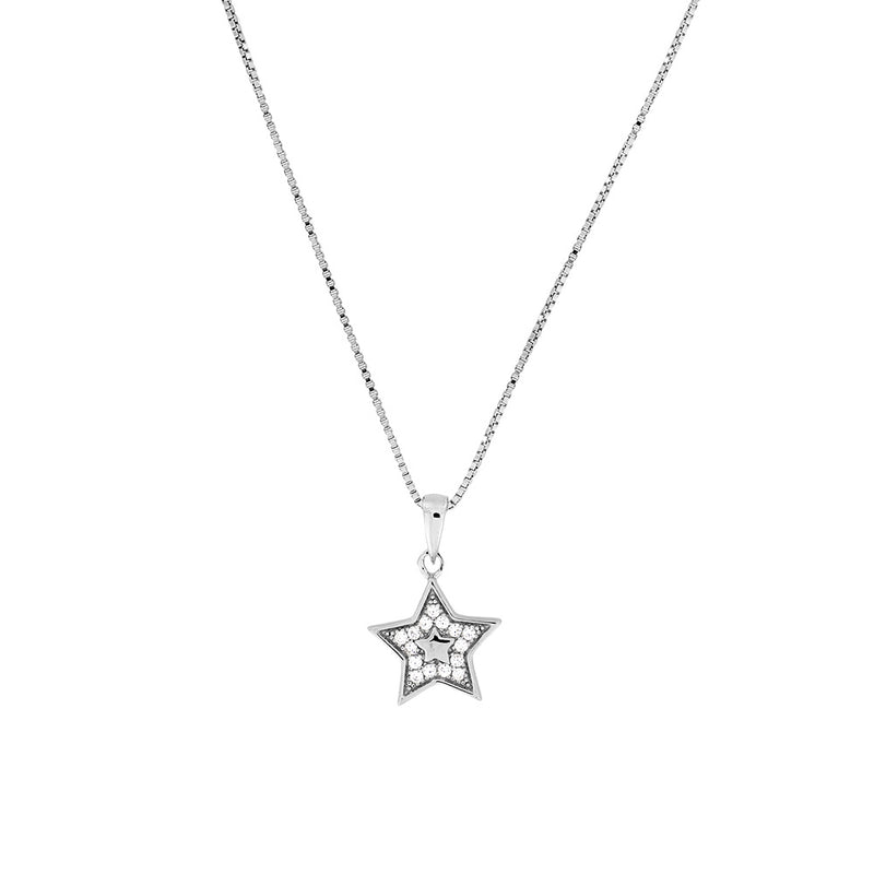 Silver & Pavé Outline Star Pendant