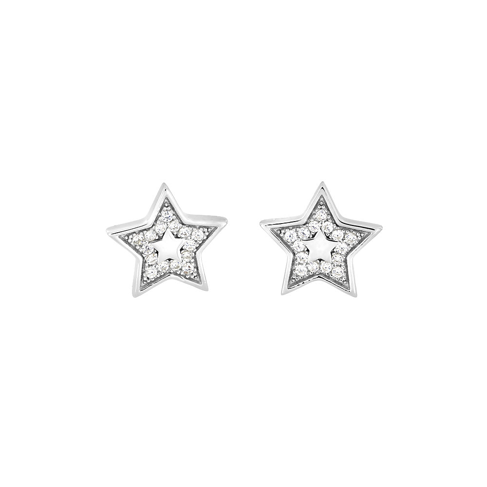 Silver & Pavé Outline Star Studs