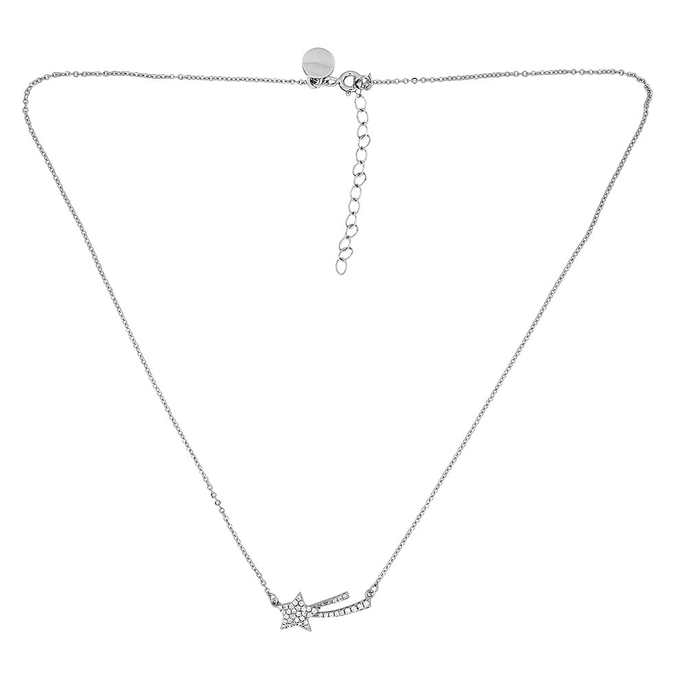 Silver & Pavé Shooting Star Necklace