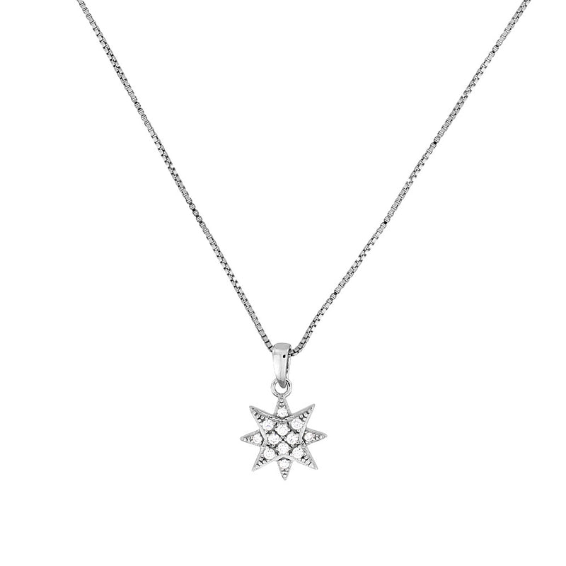 Silver & Pavé Eight-Point Star Pendant